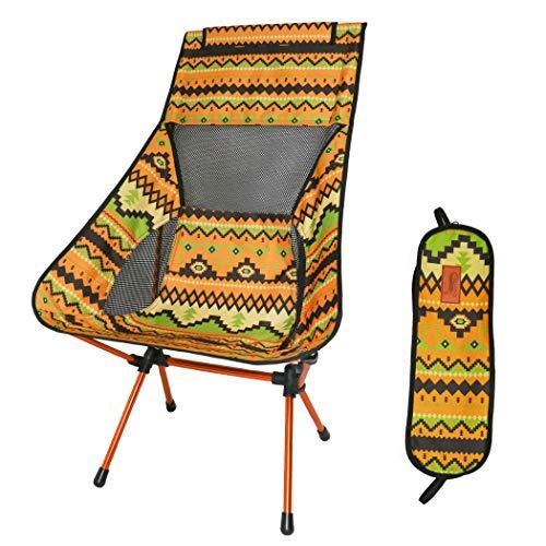 DesertFox アウトドアチェア 折りたたみ 超軽量【ハイバック】【耐荷重150kg】コンパクト イス 椅子 収納袋付属 お釣り 登山 携帯便利 キャンプ椅子0018 (黄/ハイバック)