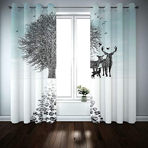 Kihomedy Cortinas rústicas para sala de estar, ciervos con árbol y pájaros, gris, blanco y azul, para cocina, sala de estar, decoración de habitación infantil, 2014 x 137 cm, 2 paneles