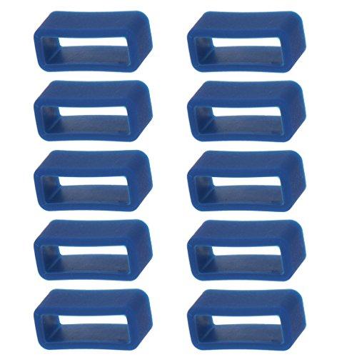 Sharplace 10 Piezas Bucle Retenedor de Silicona para Correa Banda de Reloj (14 / 16 / 20 / 24 mm) - Azul, 16 mm