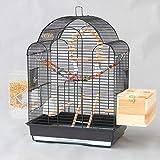 XBSLJ Cages à Oiseaux Grandes Cages à Oiseaux pour Perroquets Pigeon Pivoine Phoenix Perruche Perruche Mynah Maison Décorative en Métal Oiseaux Cage Villa Grand Nichoir, Noir