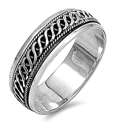 Men's Celtic Weave Spinner Wedding Ring New .925 Sterling Silver Band Size 12