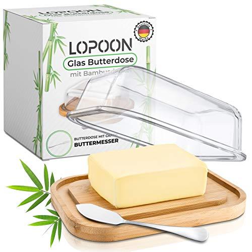 LOPOON Butterdose aus Glas mit Gratis Messer I Hochwertige Butterdose mit Bambusbrett & Glas Deckel geeignet für 250g Butter I Butterbehälter EIN tolles Geschenk I Butterbox I Butter Dish - Box