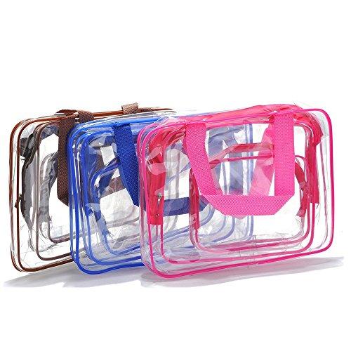 Jecxep PVC Trasparente Impermeabile Trucco Toeletta Del Sacchetto Della Cassa Pieghevole Cosmetic Organizer (Rosso)