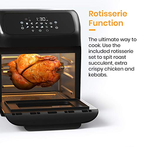 Pro Breeze 12L Air Fryer Oven 1800W with Rotisserie, Dehydrator, Digital Display, Timer, 12 Pre-Set Modes and Fully Adjustable Temperature Control for Healthy Oil Free & Low-Fat Cooking