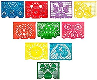 2 Pack Large Plastic Mexican Fiesta Papel Picado Banner 10 Multi-Color Handcrafted Panels with Decorative Designs for Charreria Mexicana, Day of The Dead Coco, Christmas Posadas and Any Event
