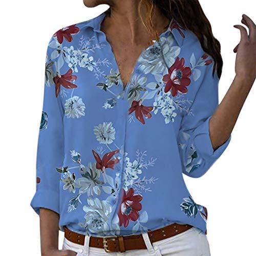Camisas Mujer Manga Larga 2019 SHOBDW Liquidación Venta Camisetas Mujer Leopardo Blusas Mujer Tallas Grandes Cuello en V Botón Tops Mujer Regular Fit Sexy Camisas Mujer Floral S-5XL(Azul,S)