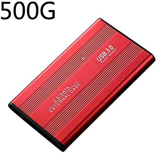 Disco Duro 2.5inch Almacenaje Accesorios Metal Externo Portátil Portátil 500 1TB 2TB B3.0 SATA3.0 para PC Gh Velocidad Disco Móvil Escritorio (500GBRed) - Rojo, 500gb