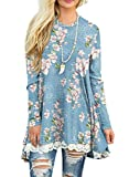Sanifer Women Floral Tops Lace Long Sleeve Tunic Top Blouse (Small, Light Blue)