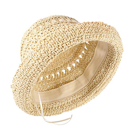boderier Women's Raffia Straw Bucket Sun Hat Packable Hand-Woven Floppy Brim Summer Hat Beach Accessories (Beige)