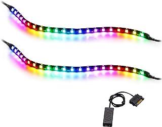 Tira de RGBIC LED direccionable, Speclux tira de luz de arco iris con imán y adhesivo de doble cara, 5V 3pines ADD RGB, co...
