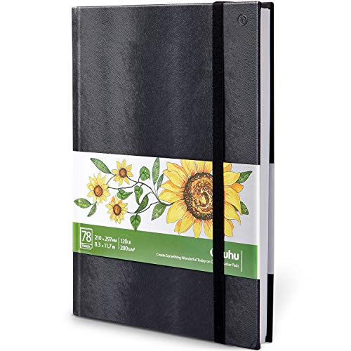 Marker Pads Art Sketchbook, Ohuhu 8.3' ×11.7' Large Paper Size, 120LB/200GSM Drawing Papers, 78 Sheets/156 Pages, Hardcover Sketch Book, Specially Designed for Alcohol Markers Christmas