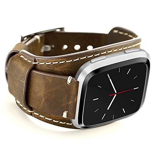 Coobes Compatibel met Fitbit Versa/Versa 2/Versa Lite/Versa Special Edition, echt lederen horlogebandje, reservearmbanden met roestvrijstalen gesp, voor mannen en vrouwen (koffie)
