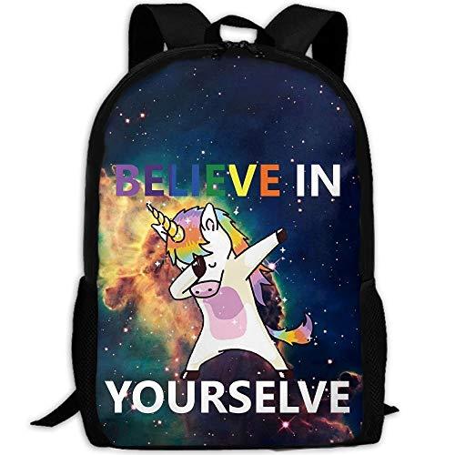 Satchel Backpack,Gym Bags,Casual Shoulder Bag Bookbag,Girls Boys Printed Daypack,Kids School Book Bags,Laptop Backpacks,Believe in Yourself Dab Unicorn Casual Backpack