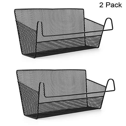 SUMNACON 2 Stück Nachttisch Hängekörbe Schlafsäle Bett Organizer Caddy Desktop Storage Rack für Zuhause Büro Schule Schlafsaal Zimmer Etagenbett (schwarz)