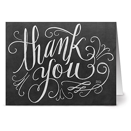 Note Card Cafe Thank You Cards with Kraft Envelopes   36 Pack   Hand Lettering Thank You   Blank Inside, Glossy Finish   for Greeting Cards, Occasions, Birthdays, Gifts