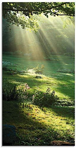 Artland Glasbilder Wandbild Glas Bild einteilig 50x100 cm Hochformat Natur Landschaft Wald Sonne Sommer Wiese Blätter Baum T5XX