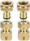 ALEMIN Tubo da giardino 1/2', connettore 2 paia di adattatori per rubinetto in ottone e raccordo per tubo da 1/2', per rubinetto da 1/2' e 3/4' con filettatura esterna