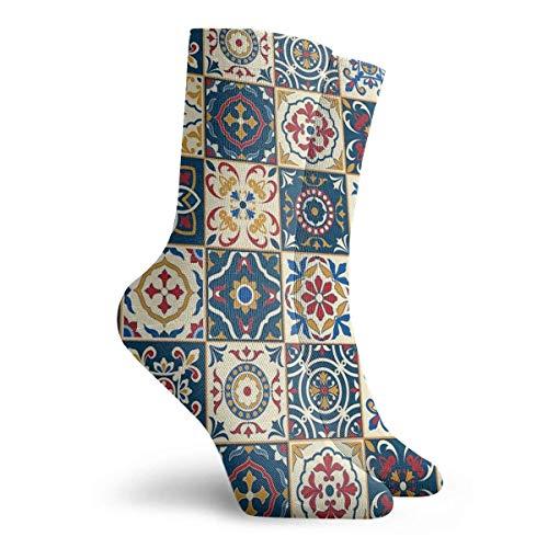 NGMADOIAN sokken met Marokkaans ruitpatroon schilderij Svetlana Novikova Athletic Long Crew Socks voor mannen vrouwen 11,8 inch