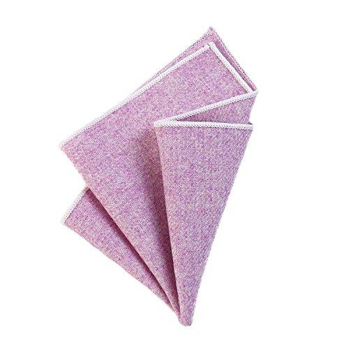 DonDon Herren Einstecktuch Taschentuch 23 x 23 cm zum selber falten aus Baumwolle Tweed Style einfarbig fliederfarben