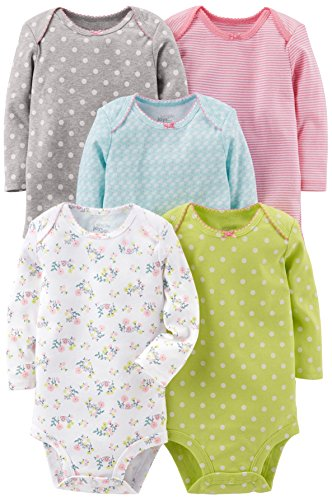 Simple Joys by Carter's Baby Girls 5-Pack Long-Sleeve Bodysuit, Grey/Pink/Lime/Blue, Newborn