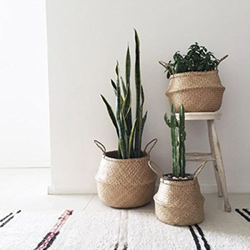 Woven Seagrass Basket,Gracosy Natural Handmade Belly Basket Collapsible Basket Straw Basket Decorative Basket Flower Pot Basket with Handles for Home Storage, Plant Pot Cover Natural color S