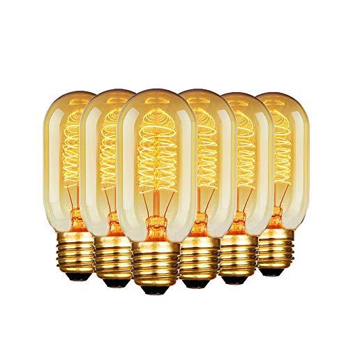 Bombilla Edison de 60W (220V, casquillo E27, luz blanca cálida, 6 unidades), diseño vintage, T45/60w, E27 60.0W