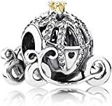 Annmors Disney Pumpkin Carriage Charms 925 Sterling Silver-Lucky Charm for Woman Pendant Bead,Girl Jewelry Beads Gifts for Women Bracelet&Necklace
