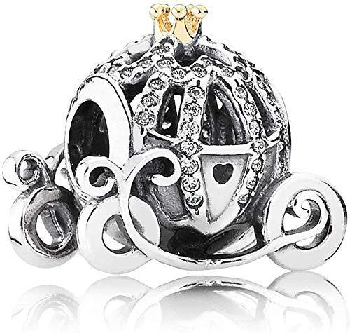 Annmors Abalorios de plata de ley 925 con diseño de carruaje de calabaza de Cenicienta para hacer joyas, regalos de Navidad para mujer y pulseras de Europa