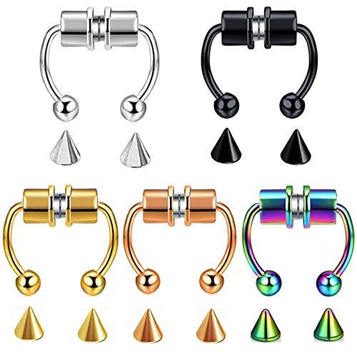 ADICOM 5PCS Magnetic Septum Nose Ring, Reusable Nose Ring, Horseshoe Fake Nose Ring, Stainless Steel Faux Septum Non Piercing Clip
