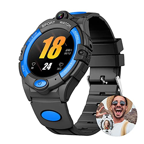 URJEKQ Relojes para Niños Reloj Inteligente Niño Mensajes Chat de Voz SOS Control Parental Cmara Juegos Regalo para Niños,Azul