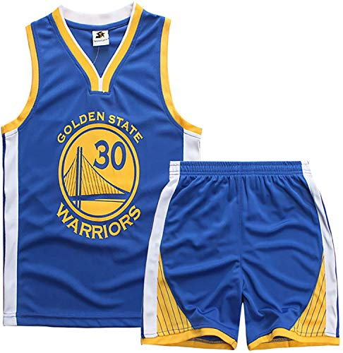 YCJL Camiseta De Baloncesto NBA Jersey Curry # 30 Warriors Camiseta De Baloncesto Y Pantalones Cortos Traje De Jersey para Niños, Traje Deportivo De Malla Transpirable,Azul,XS:110~120cm
