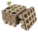 ASY 10 Bandejas De Inicio De Semillas, Bandejas De Semillas Biodegradables, 12 Celdas, Macetas De Fibra, Bandejas De Germinación De Plántulas para Jardines, Huertos, Frutas, Viveros E Invernaderos