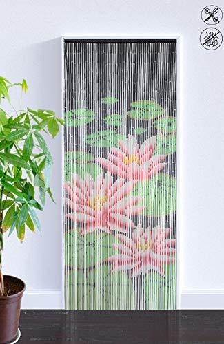 ABC Home Living Bambusvorhang Raumteiler Türvorhang Insektenschutz, Bamboo, Wasserlilien, ca. 90 x 200 cm