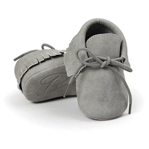 Baby Boys Girls Moccasins Soft Sole Tassels Prewalker Anti-Slip Shoes (S:0~6 Months, PU Grey)