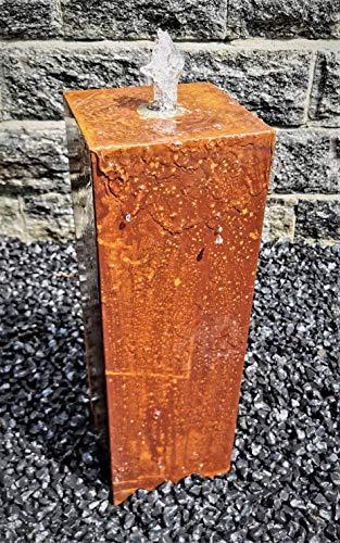 garten-wohnambiente Säulenbrunnen eckig 60/20 cm Cortenstahl Roststahl Komplettset Säule Wasserspiel