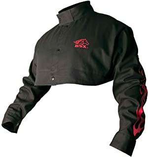 BSX Flame-Resistant Welding Cape Sleeve - Black with Red Flames, Size X-Large
