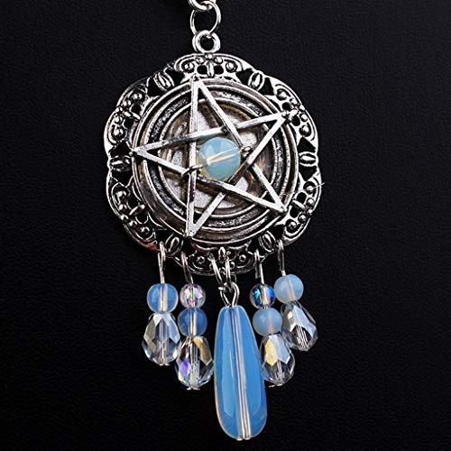 Wanghuaner Gothic Five-pointed Star Start Necklace Women Crystal Beads Long Pendant Chain