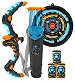 JOYIN Bow and Arrow for Kids with LED Flash Lights - Archery Bow with 9 Suction Cups Arrows, Target and Quiver, Outdoor Toys