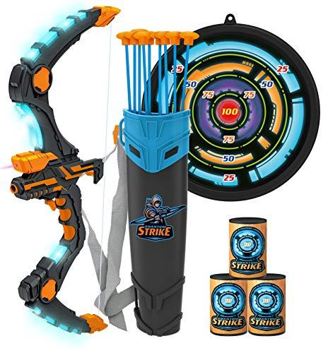 JOYIN Arco y flecha para niños con luces LED de destello – Arco de tiro con arco con 9 ventosas flechas, objetivo y carcaj, juguetes al aire libre