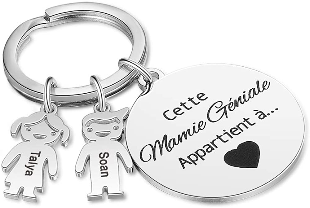 Personalized Keychain Custom Family Keychain for Mother Father Engraving Name Keyring