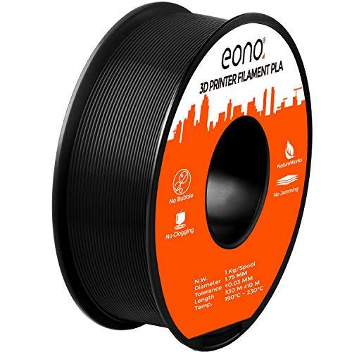 Eono by Amazon - PLA-Filament(1 Kilo) für 3D-Drucker, Verwicklung frei, Maßgenauigkeit von +/- 0,03mm, Geeignet für FDM-Drucker, 1,75mm-Schwarz