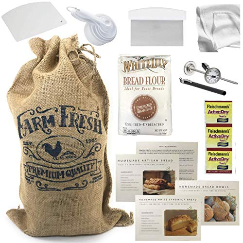 Bread Making Bundle Tools & Supplies DIY Bread Starting Gift Kit with Accessories 12pcs - Flour Yeast Dough Cutter Thermometer Scraper Measuring Cups & Spoons Free Bread Recipes by Budding Bread Baker