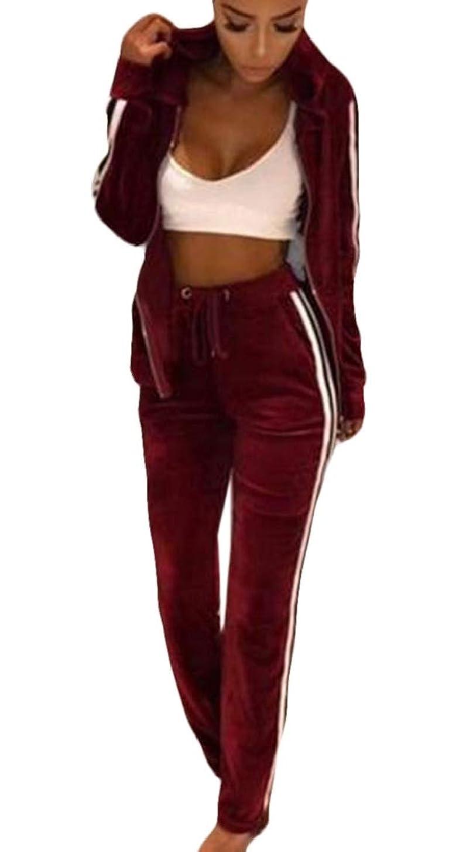 びっくりした炎上添加剤Valoda 女性のベルベットは2ピースアウトフィットジッパートラックスーツのトップとズボンの衣装