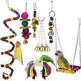 Camiterオウム おもちゃ インコ おもちゃ 鳥のおもちゃ 噛む玩具 追う玩具 木製 ボール 玩具 吊下げタイプ玩具 遊び場 セキセイインコ 文鳥 ストレス解消 知育玩具 7個セット