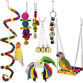 Jouets pour Oiseaux, Camiter 7 Pièces Jouets à mâcher, Jouets à Suspendre avec Clochette, Balançoires, Échelles, Décoration Animal Cages pour Oiseaux