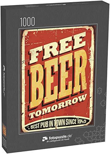 fotopuzzle.de Puzzle 1000 Teile Freies Bier Morgen auf altem Blechschild auf altem, abgenutztem rotem Hintergrund Dekoration von Pubs oder Tavernen (1000, 200 oder 2000 Teile)