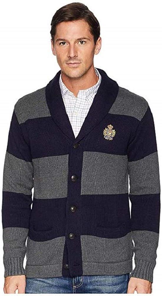 Ralph Lauren Polo Men's Shawl-Collar Cardigan Medium Navy/Grey