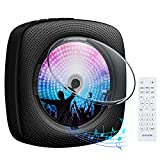 Gueray Portátil Bluetooth Reproductor de CD con Cubierta Antipolvo Control Remoto Radio FM Altavoces de Alta fidelidad incorporados Conector de Auriculares Salida de Entrada USB AUX incorporada Negro
