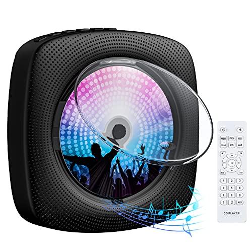 Lettore CD Portatile Gueray Lettore CD Montabile a Parete con Coperchio Antipolvere Altoparlante Hi-Fi Integrato Bluetooth con Telecomando Radio FM Lettore musicale USB Ingresso 3,5 mm AUX Nero