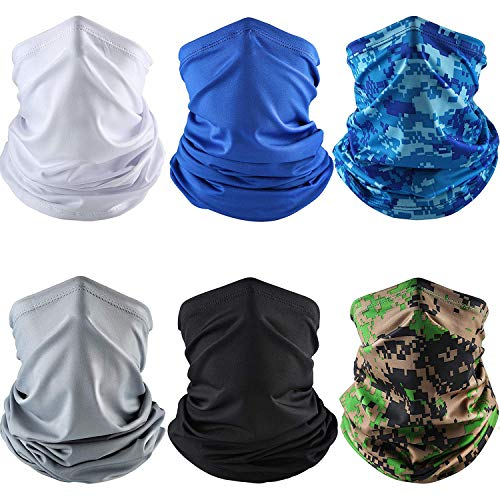 6 Pieces Summer UV Protection Face Cover Neck Gaiter Bandana Breathable Headwrap Cooling Face Scarf for Camping Running Cycling Fishing Sport Hunting 2020/5/30 6 Pieces Summer UV Protection Face Cover Neck Gaiter Bandana Breathable Headwrap Cooling Face